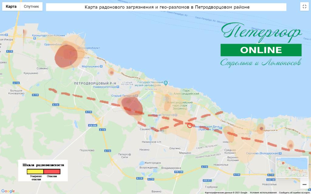Карта радонового загрязнения Петродворцового района